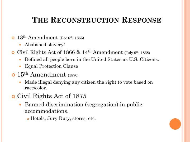 The Reconstruction Response
