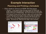 example interaction planning and printing a schedule2