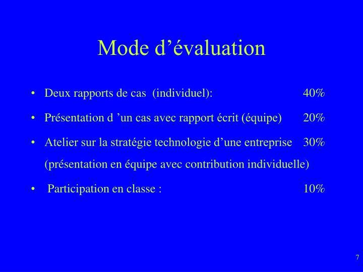 Mode d'évaluation