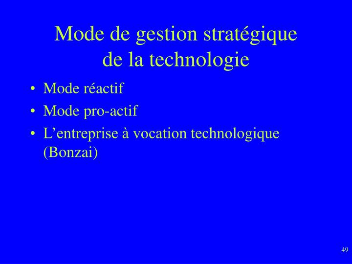 Mode de gestion stratégique