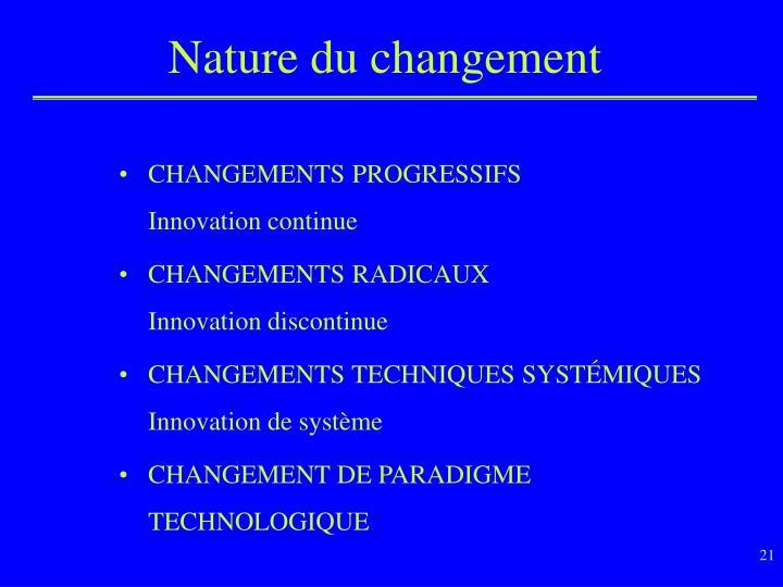 Nature du changement