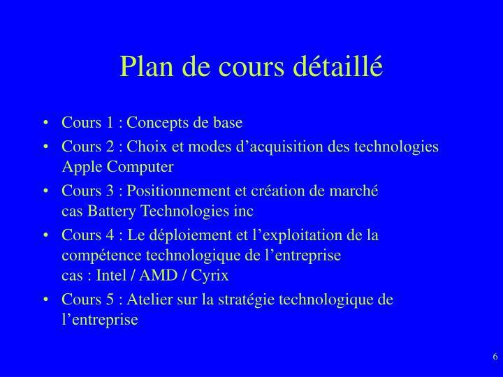 Plan de cours d