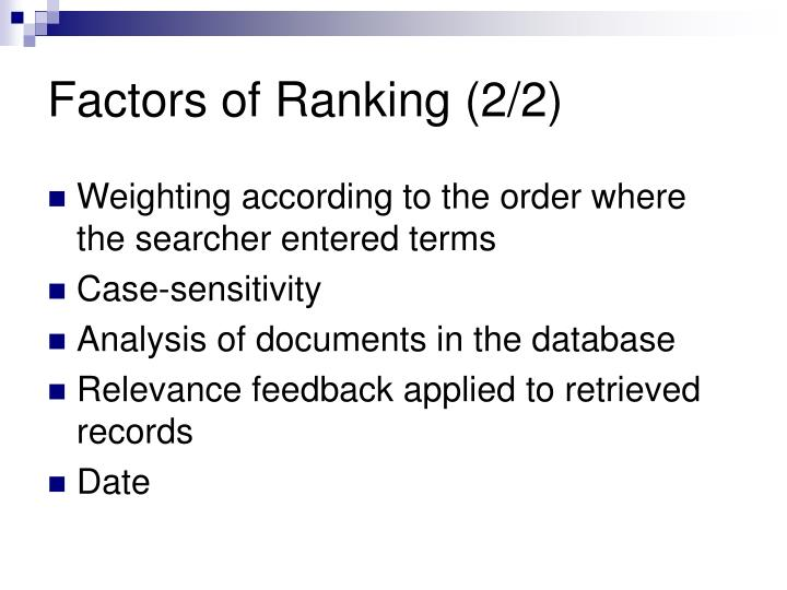 Factors of Ranking (2/2)