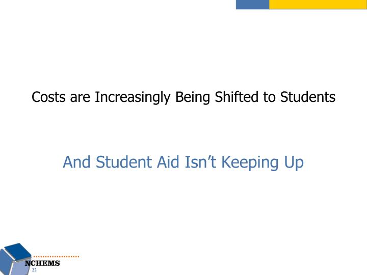 Costs are Increasingly Being Shifted to Students