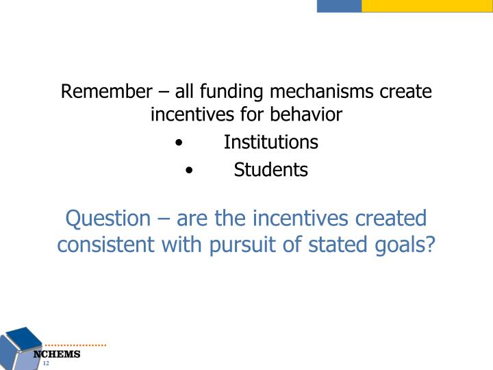 Remember – all funding mechanisms create incentives for behavior