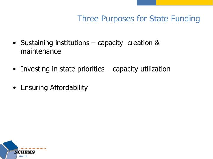 Three Purposes for State Funding