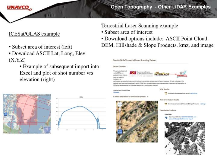 Open Topography  - Other LiDAR Examples