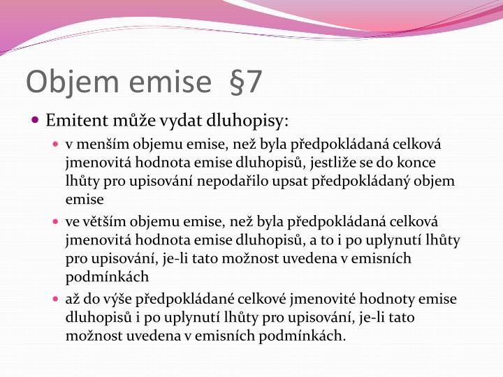 Objem emise  §7