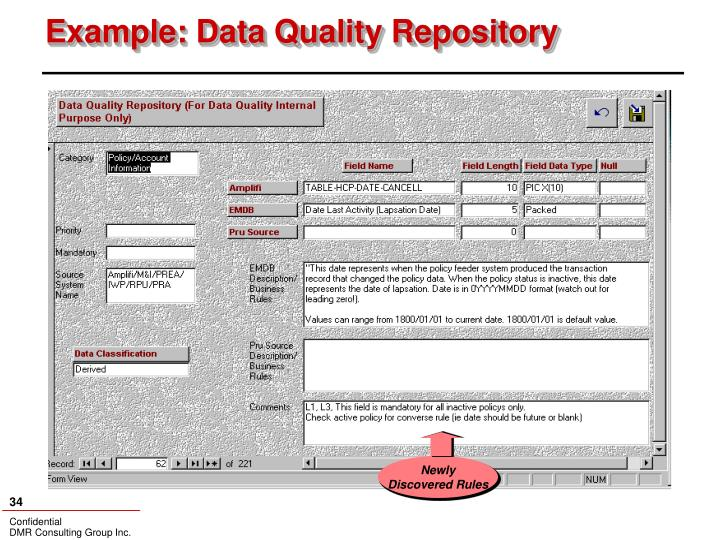 Example: Data Quality Repository