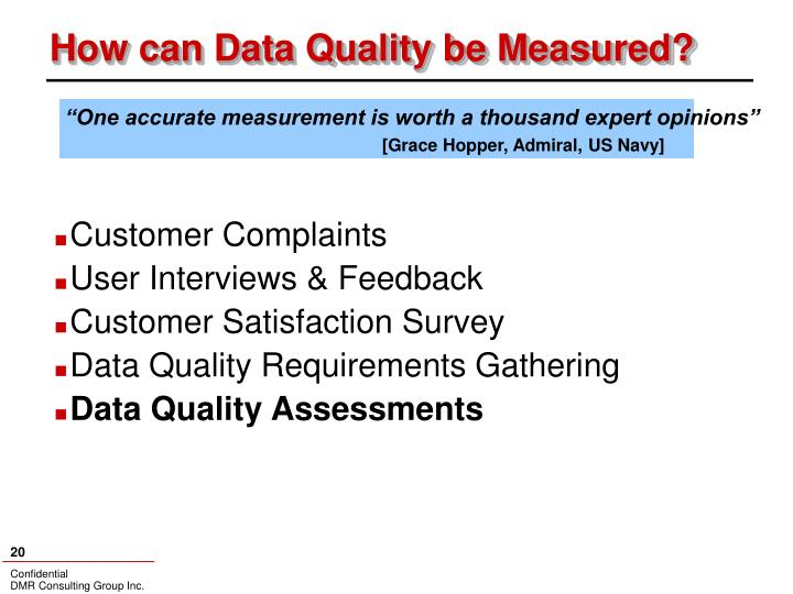How can Data Quality be Measured?