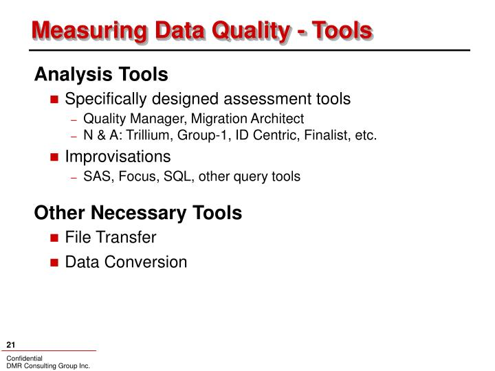 Measuring Data Quality - Tools