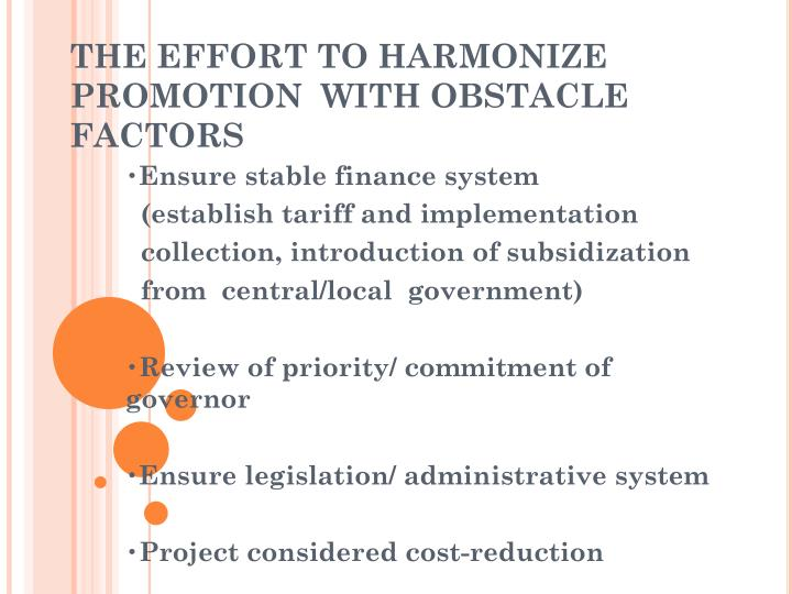 THE EFFORT TO HARMONIZE PROMOTION  WITH OBSTACLE FACTORS