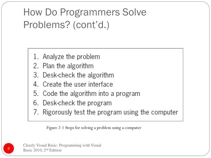 How Do Programmers Solve  Problems? (cont'd.)