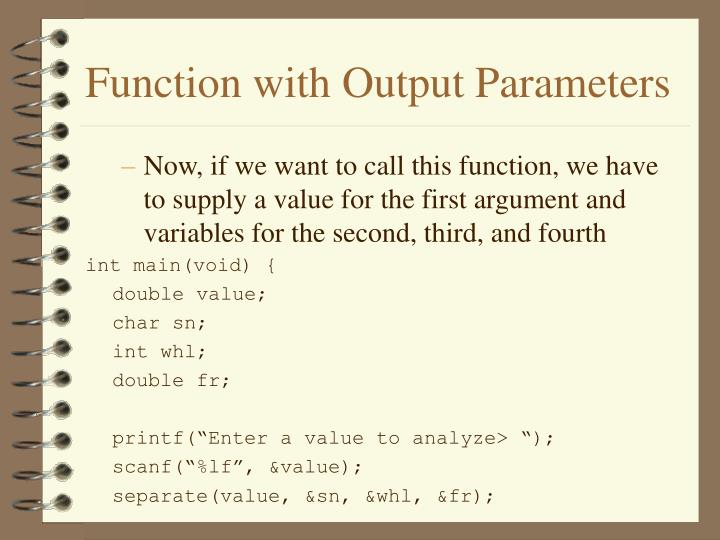 Function with output parameters2