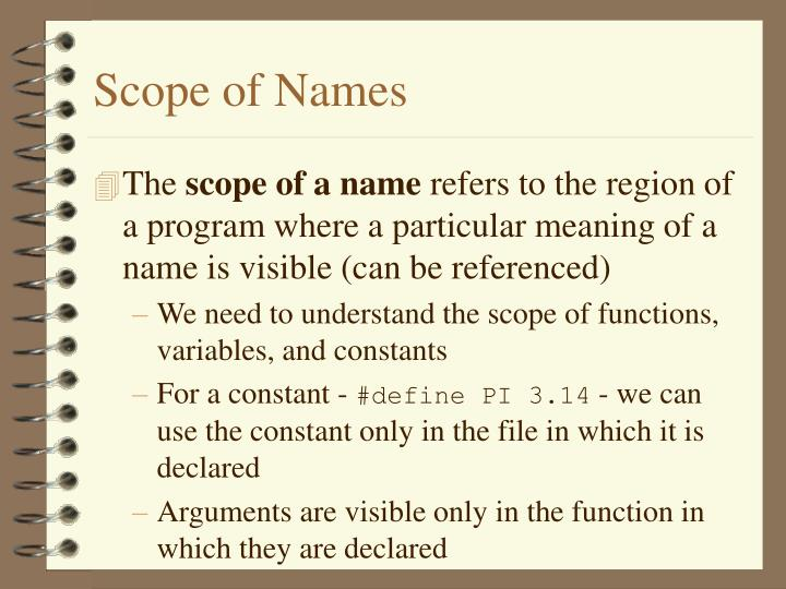 Scope of Names