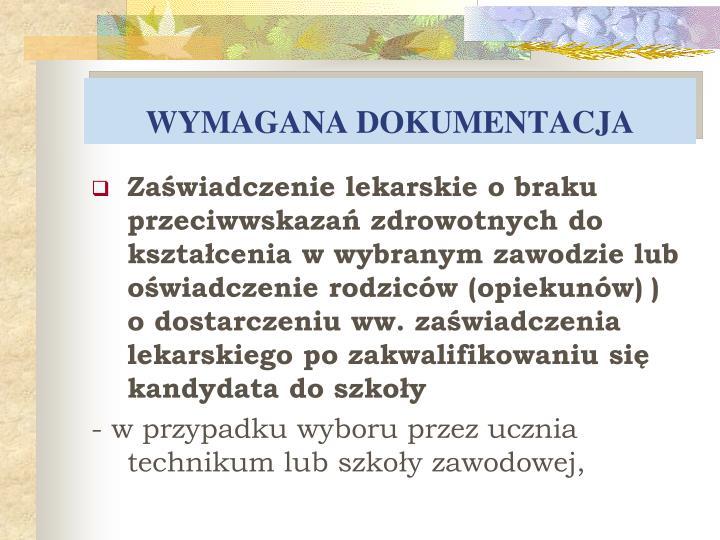 WYMAGANA
