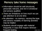 memory take home messages