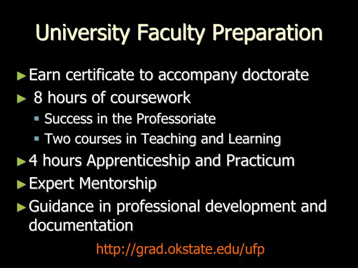 University Faculty Preparation