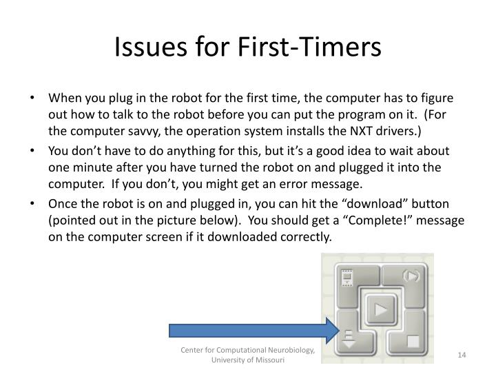 Issues for First-Timers