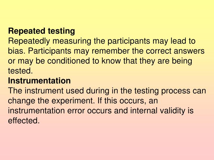 Repeated testing