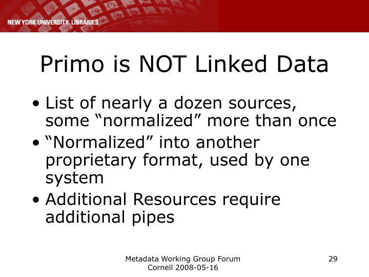 Primo is NOT Linked Data