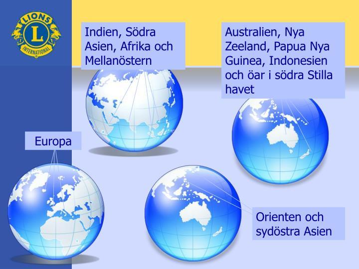 Indien, Södra Asien, Afrika och Mellanöstern