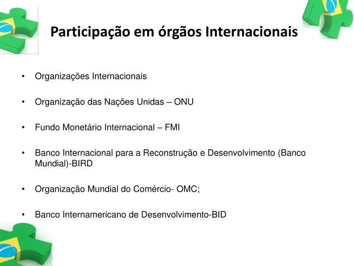 Participação em órgãos Internacionais