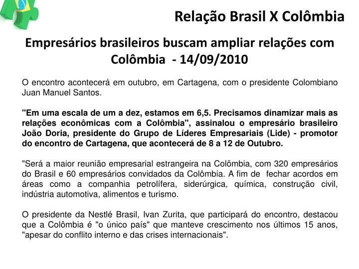 Relação Brasil X Colômbia