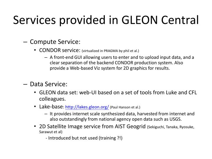 Services provided in GLEON Central