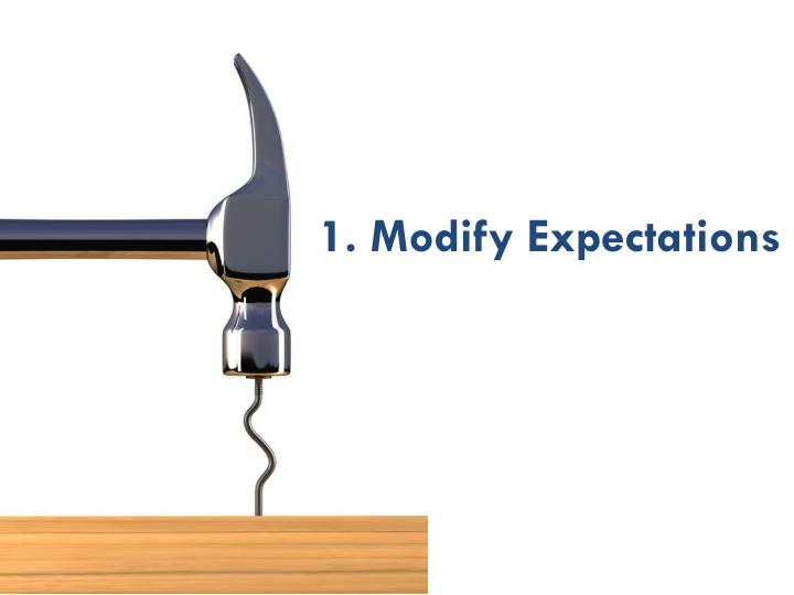 1. Modify Expectations