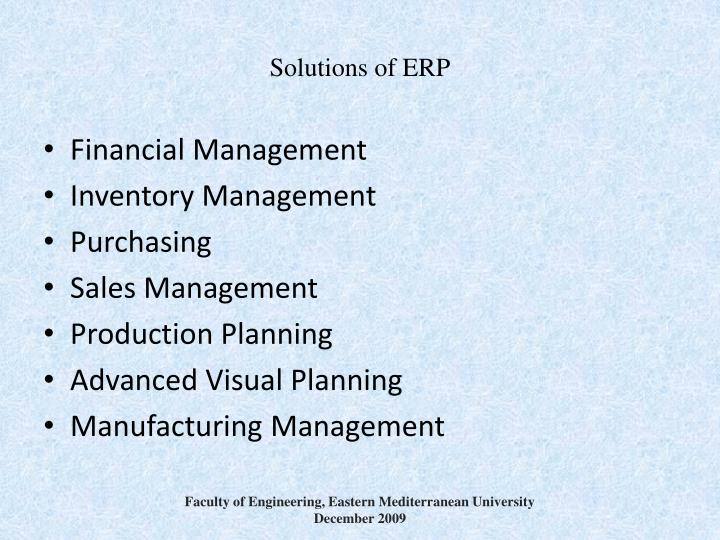 Solutions of ERP