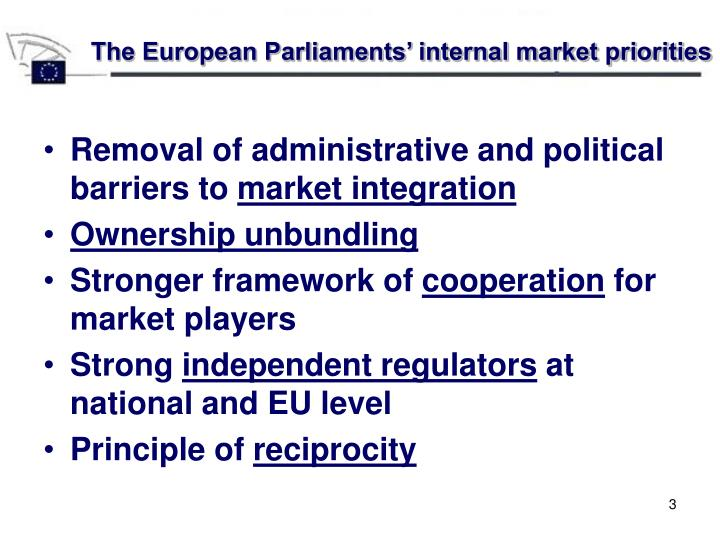 The European Parliaments' internal market priorities