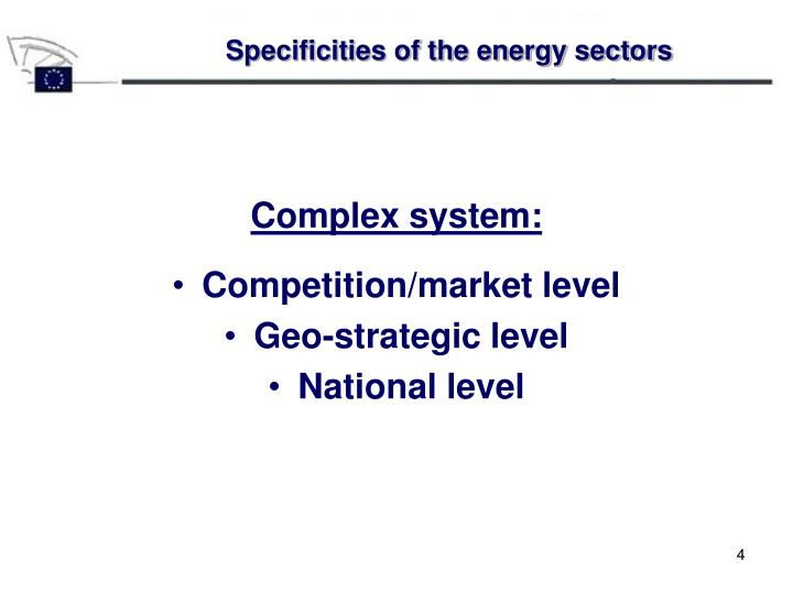 Specificities of the energy sectors