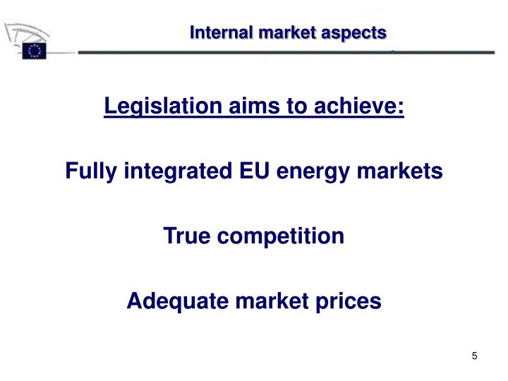 Internal market aspects