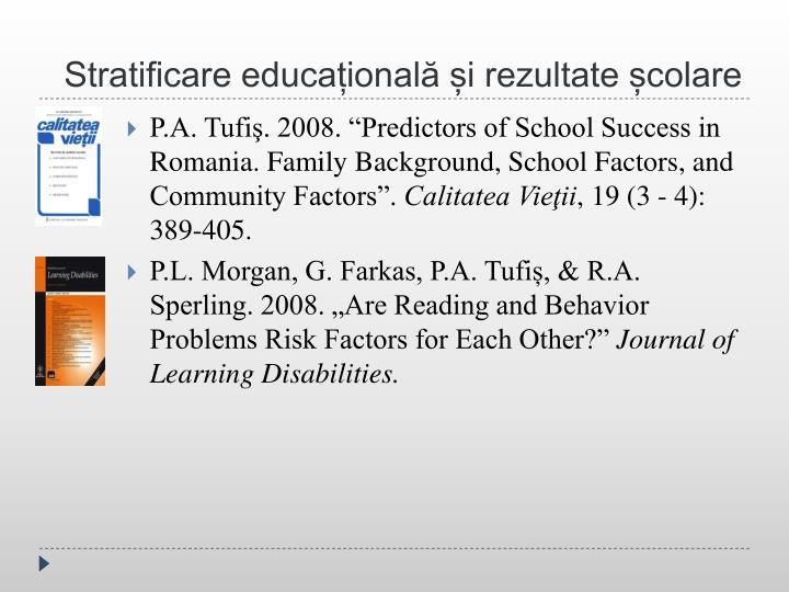 Stratificare educațională și rezultate școlare