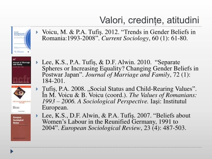 Valori, credințe, atitudini