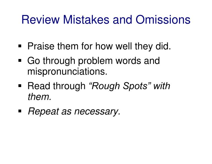 Review Mistakes and Omissions