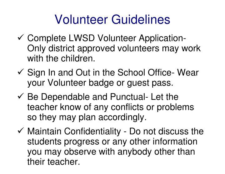 Volunteer Guidelines
