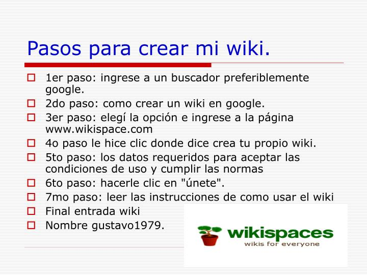 Pasos para crear mi wiki.