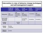 intervention in view of behavior change techniques and self management support