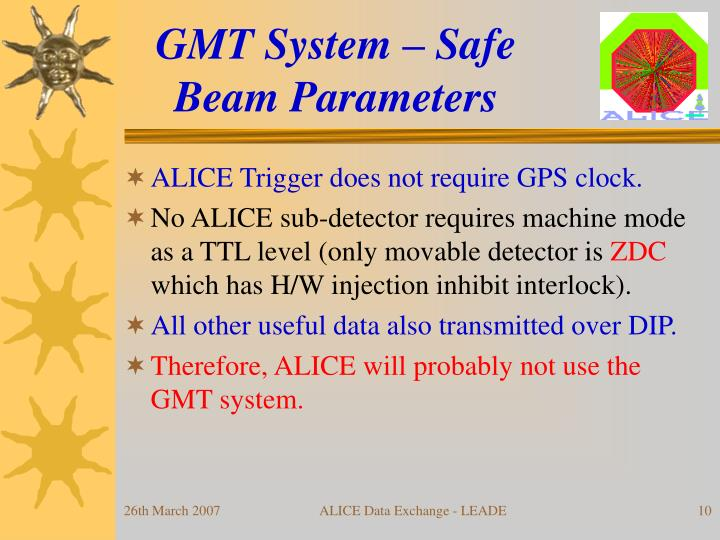 GMT System – Safe Beam Parameters
