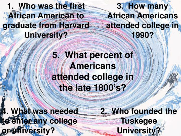 1.  Who was the first African American to graduate from Harvard University?