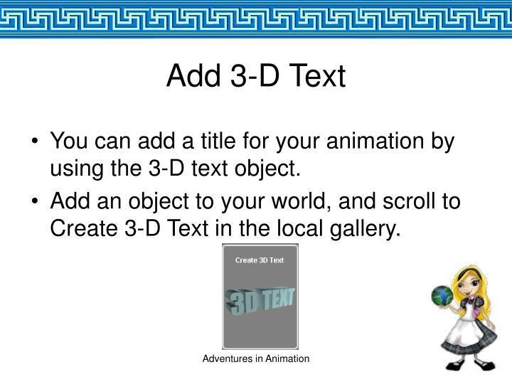 Add 3-D Text