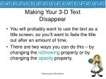 making your 3 d text disappear