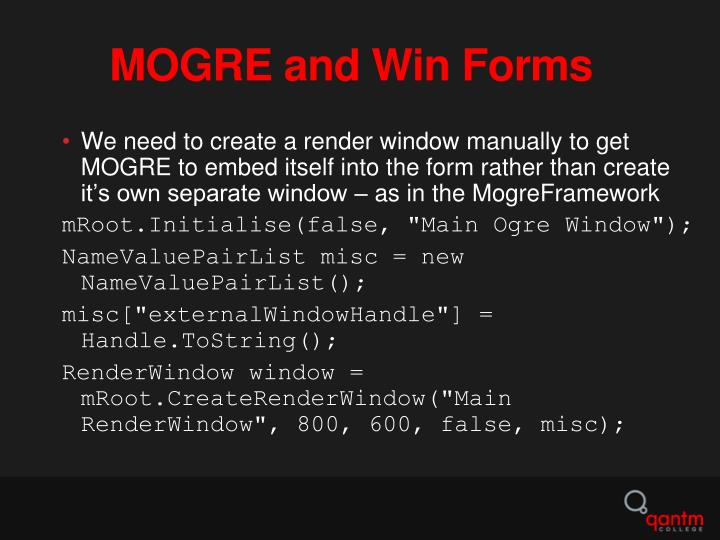 MOGRE and Win Forms