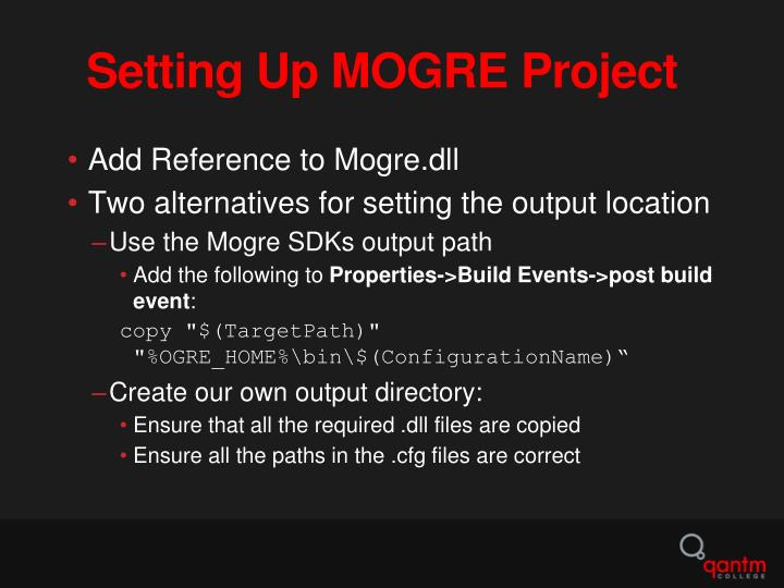 Setting Up MOGRE Project