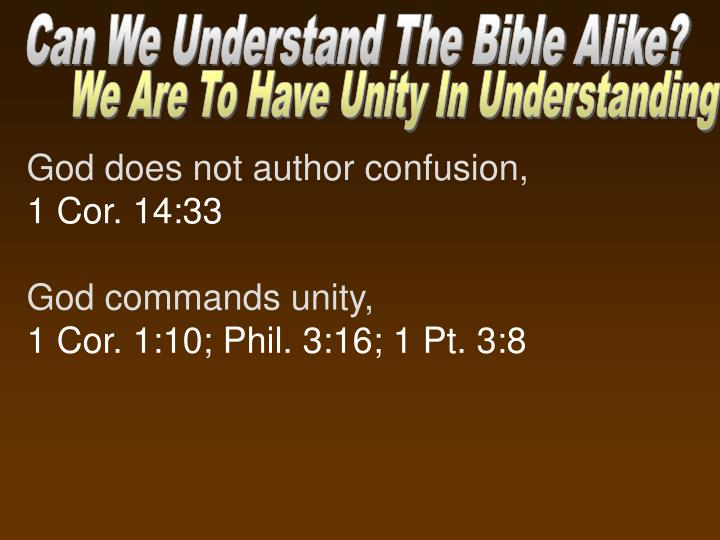 Can We Understand The Bible Alike?