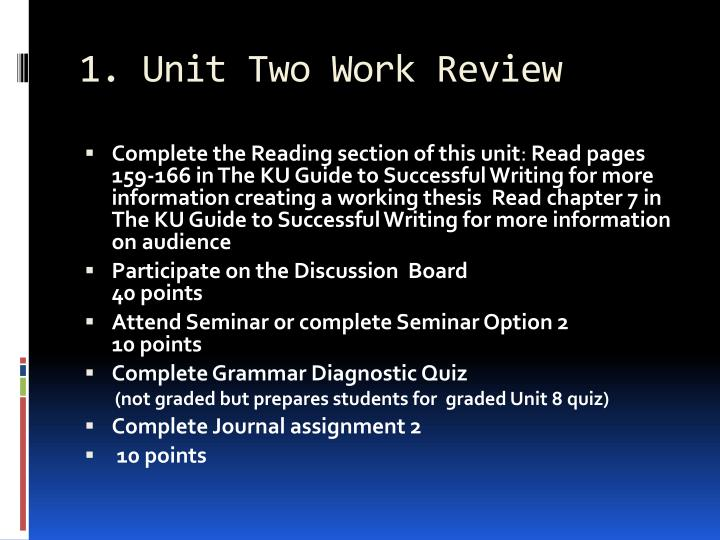 1. Unit Two Work Review