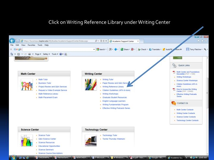 Click on Writing Reference Library under Writing Center