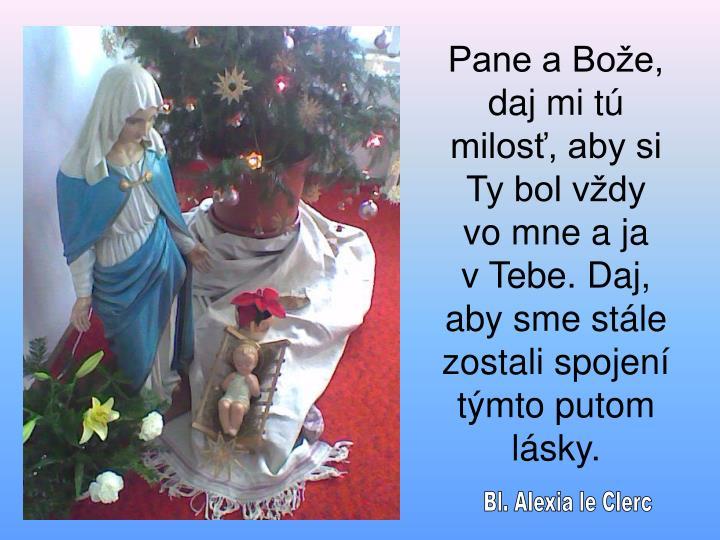 Pane a Bože, daj mi tú milosť, aby si Ty bol vždy
